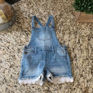 Cat & Jack denim girls short overalls